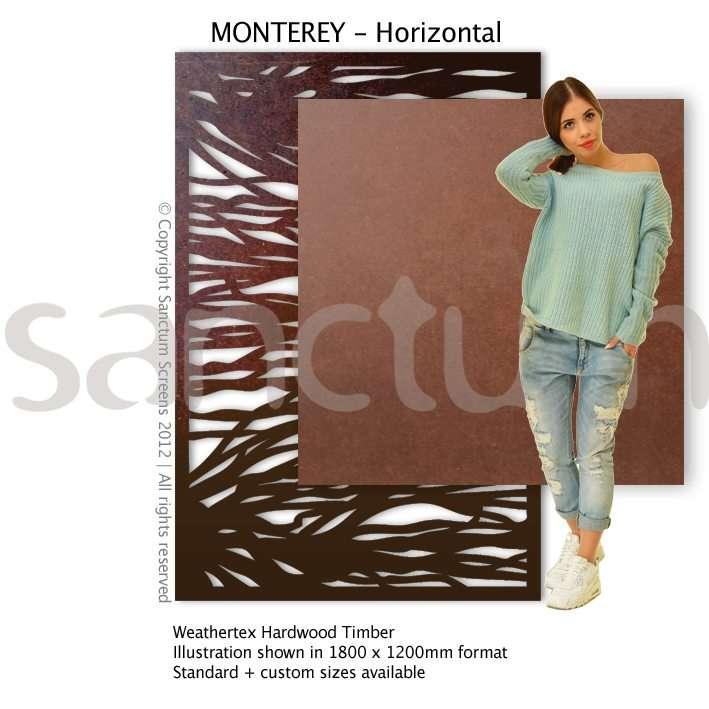 Monterey Horizontal design Sanctum Screens Weathertex RAW Timber