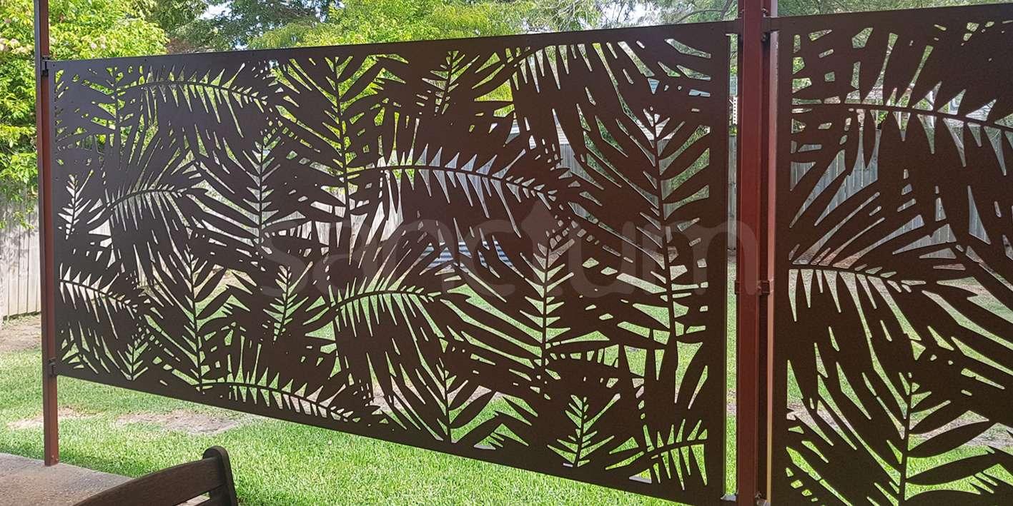 Palm Cove Holey Sheet screening on cross rail frames
