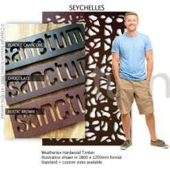 Seychelles design Sanctum Screens Weathertex Coated Timber
