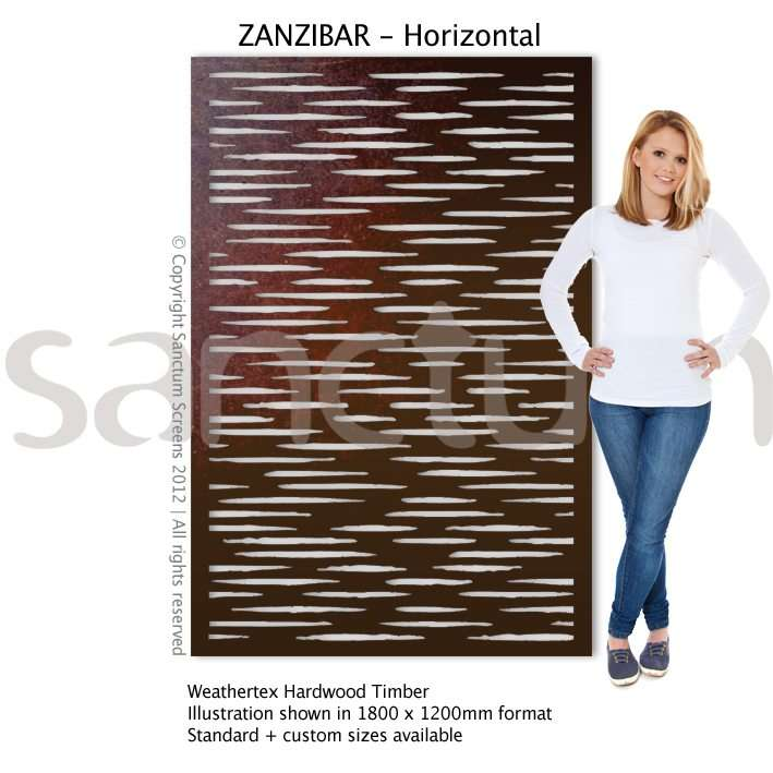 Zanzibar Horizontal design Sanctum Screens Weathertex Timber