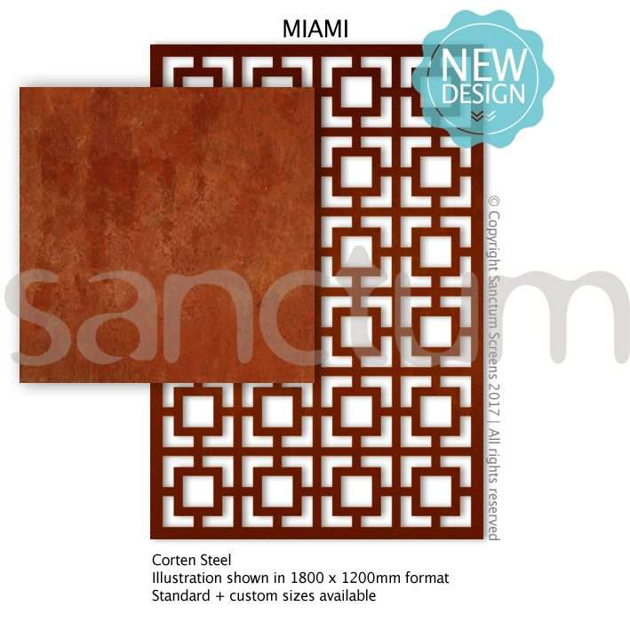 Miami design Sanctum Screens Corten Steel