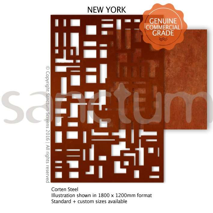 New York design Sanctum Screens Corten Steel