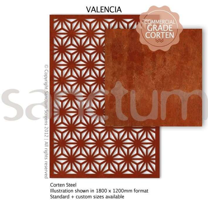 Valencia design Sanctum Screens Corten Steel