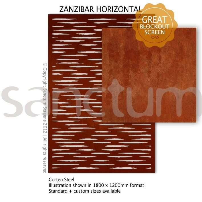 Zanzibar Horizontal design Sanctum Screens Corten Steel
