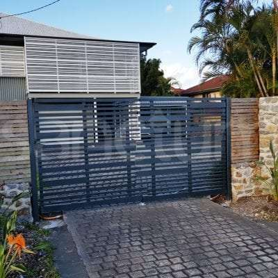 Slatted swing decorative feature gate