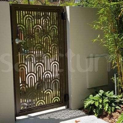 Decorative laser cut pedestrian gate