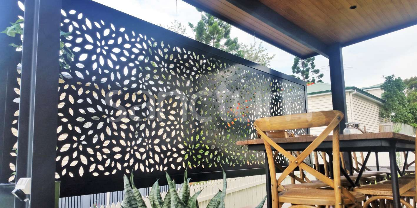 Framed Chelsea holey sheet panel as privacy screen