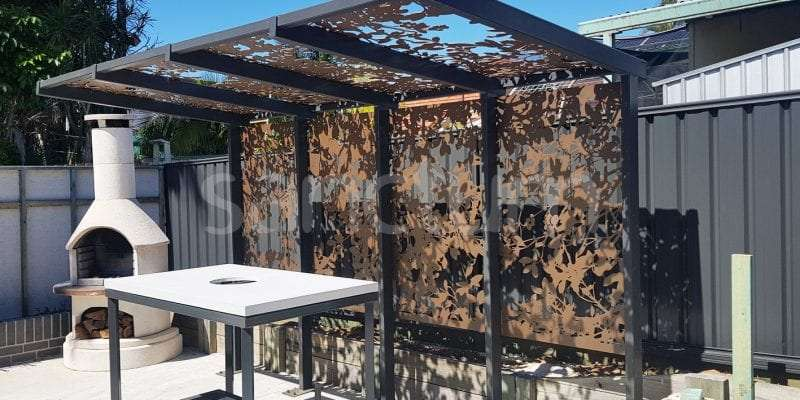Sausalito holey sheet screens on shade structure