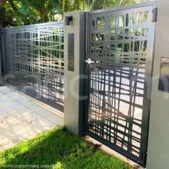 Driveway vehicle charcoal laser cut gate