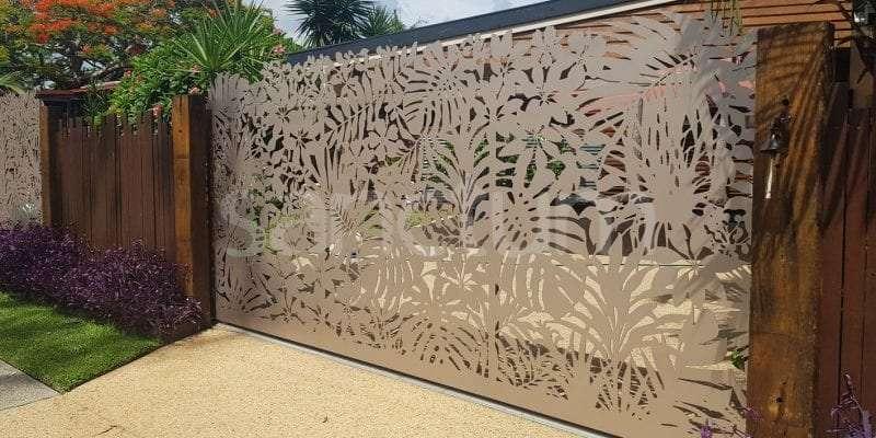 Driveway vehicle gate decorative laser cut tropical screen